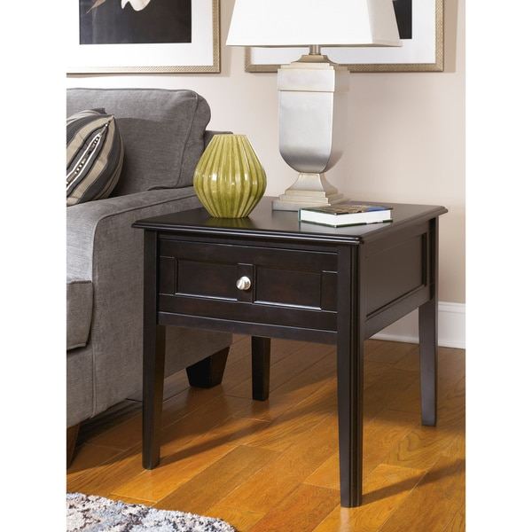 Signature Design by Ashley Henning Almost Black Rectangular End Table