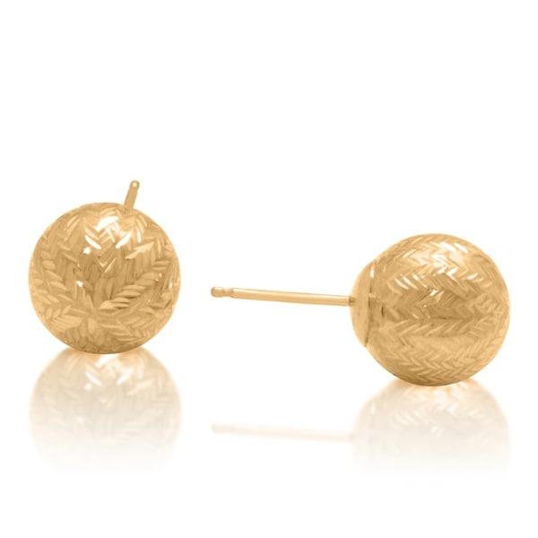 Gioelli 14k Yellow Gold 9mm Bold Chevron-cut Ball Earrings