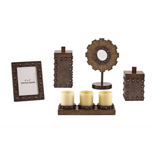 Signature Design by Ashley Sakina 5-piece Faux Wood Pewter Accessory Set