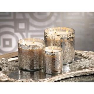 Antique Mercury Glass Diamond-cut Candle Jar