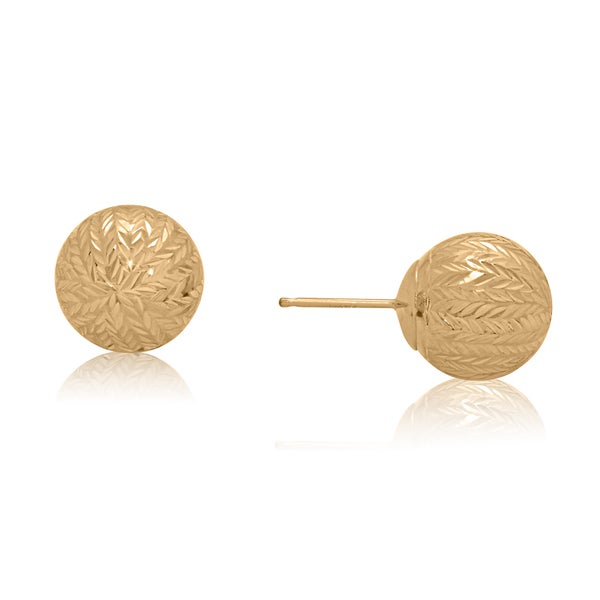 Gioelli 14k Yellow Gold 10mm Bold Chevron Cut Ball Earrings