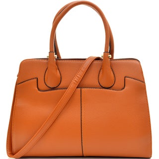 Dasein Faux Buffalo Stud Accented Handle Briefcase with Removable Shoulder Strap