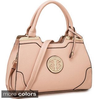 Dasein Goldtone Emblem Handbag with Removable Shoulder Strap