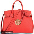 Dasein Goldtone Emblem Tote with Adjustable Removable Shoulder Strap