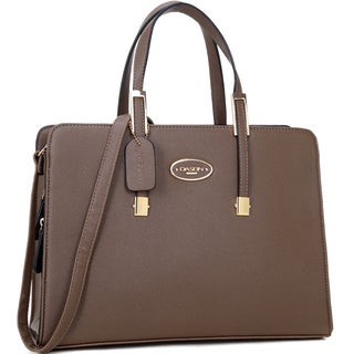 Dasein Two-tone Faux Leather Satchel Briefcase Bag with Removable Shoulder Strap
