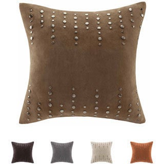 Madison Park Silver Stud Suede Feather Down Filled 20-inch Throw Pillow