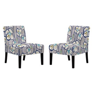 angelo:HOME Bradstreet Grey and Turquoise Blue Floral Armless Chairs (Set of 2)