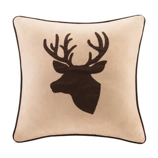 Madison Park Deer Faux Suede Feather Down Filled 20-inch Throw Pillow