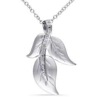 Haylee Jewels Sterling Silver Diamond Accent Leaf Necklace