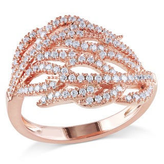 Miadora Rose Plated Silver Cubic Zirconia Leaf Ring