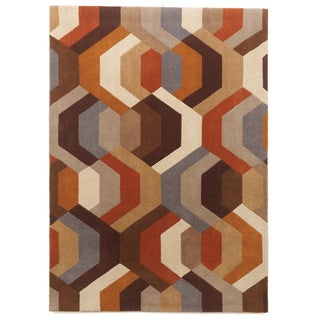 Signature Design by Ashley Galaxy Hand-tufted Orange Wool Rug (5'x7')