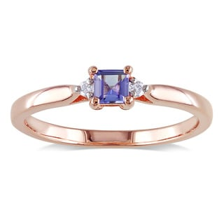 Miadora Rose Plated Silver Tanzanite and Diamond Accent 3-stone Ring
