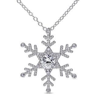 Miadora Sterling Silver Created White Sapphire and Diamond Snowflake Necklace