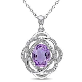Miadora Silver Amethyst and 1/10ct TDW Diamond Necklace (H-I, I2-I3)