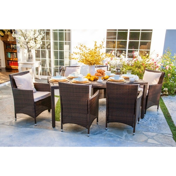 Angelo home napa estate sandy brown indoor outdoor rectangular 7 piece dining set Angelo home patio furniture
