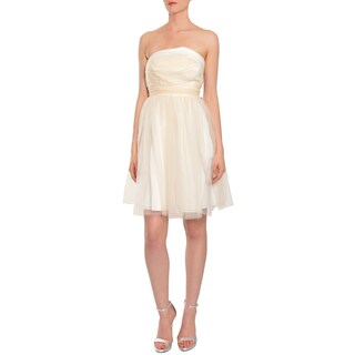 5/48 Women's Strapless Buff Tulle Asymmetric Evening Cocktail Dress