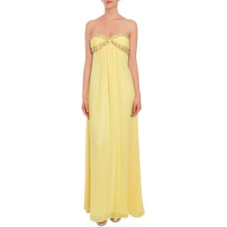 Mary L. Couture Women's Yellow Beaded Evening/ Prom Dress