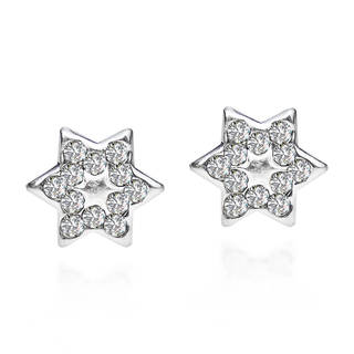 .925 Sterling Silver Petite Star of David White Cubic Zirconia Stud Earrings (Thailand)
