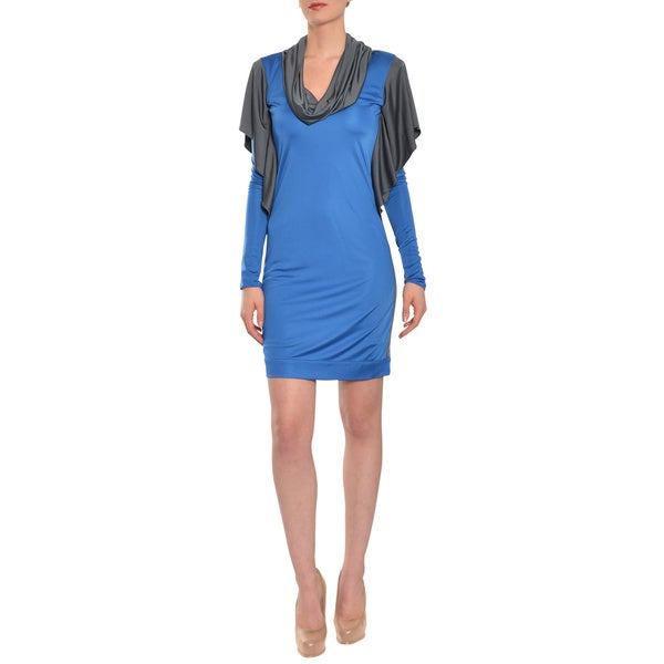 Emanuel Ungaro Women's Blue/ Grey Slinky Jersey Knit Cocktail Dress