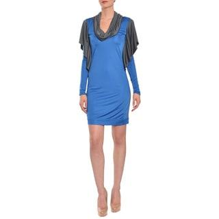 Emanuel Ungaro Women's Blue/ Grey Slinky Jersey Knit Cocktail Dress