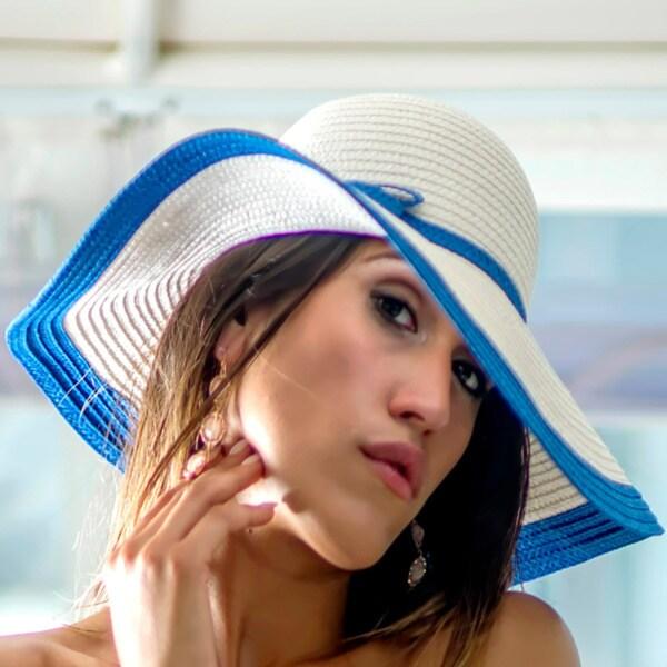 Women's White/ Blue Straw Hat (China)