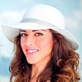 Women's White Wide Brim Bucket Straw Hat (China)