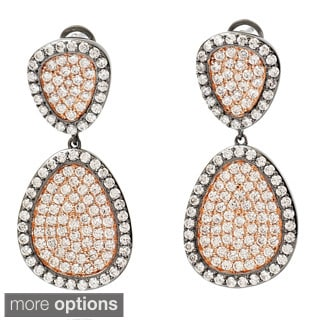 Pave Two-tone Gunmetal Cubic Zirconia Overlay Dangle Earrings
