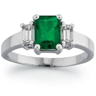 18k White Gold Emerald Diamond Ring
