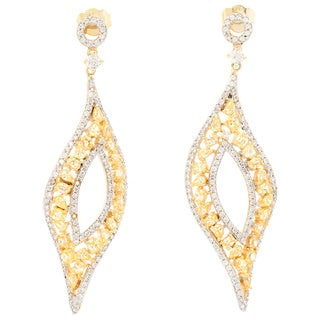 Sterling Silver Yellow Cubic Zirconia Marquise Shape Dangle Earrings