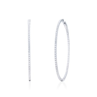 Blue Box Jewels Rhodium-plated Sterling Silver Cubic Zirconia Extra-large Endless Hoop Earrings