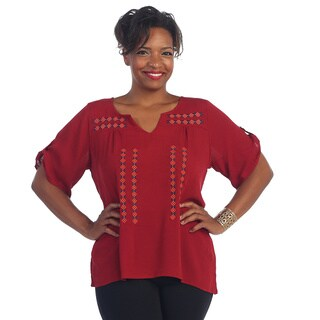 Hadari Women's Plus Size Red Flowy Blouse
