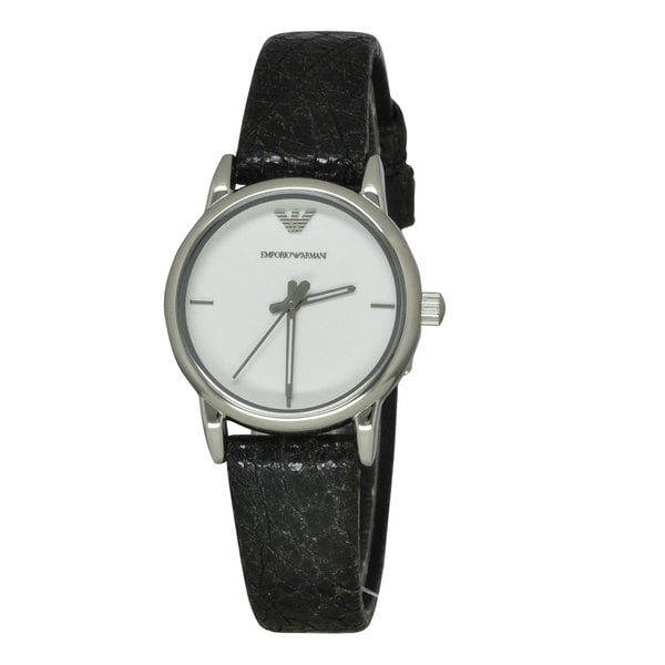 Armani Women's AR1814 Classic White Dial Round Black Leather Watch