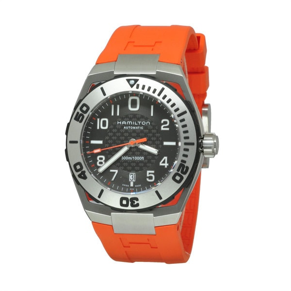Hamilton Men's H78615985 Khaki Navy SUB Orange Watch