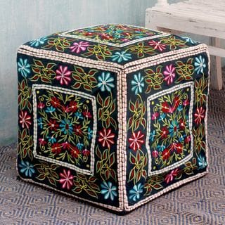 Handcrafted Cotton Rayon 'Bollywood Blooms' Ottoman Cover (India)