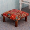 Sheesham Wood Cotton Polyester 'Rajasthan Illusions' Ottoman (India)