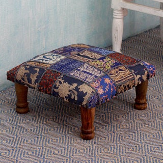 Sheesham Wood Cotton Polyester 'Rajasthan Fantasy' Ottoman (India)