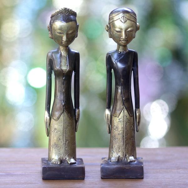 Set of 2 Handcrafted Bronze 'Manten' Sculptures (Indonesia)
