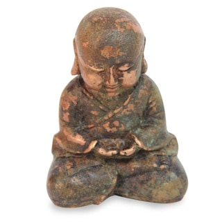 Handcrafted Bronze 'Baby Buddha Meditating' Statuette (Indonesia)