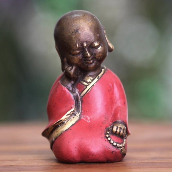 Handcrafted Bronze 'Sleepy Little Buddha' Statuette, Handmade in Indonesia (As Is Item)