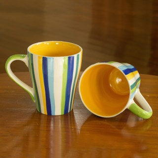 Set of 2 Handcrafted Ceramic 'Good Sunny Morning' Mugs (Thailand)
