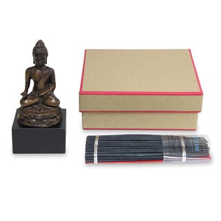 Bronze 'Buddhist Peace' Incense Sticks and Holder Set (Indonesia)