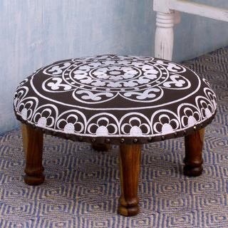 Seesham Wood Cotton Rayon 'Monochrome Jaipur' Foot Stool (India)