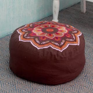 Handcrafted Cotton Rayon 'Balodra Exuberance' Ottoman Cover (India)