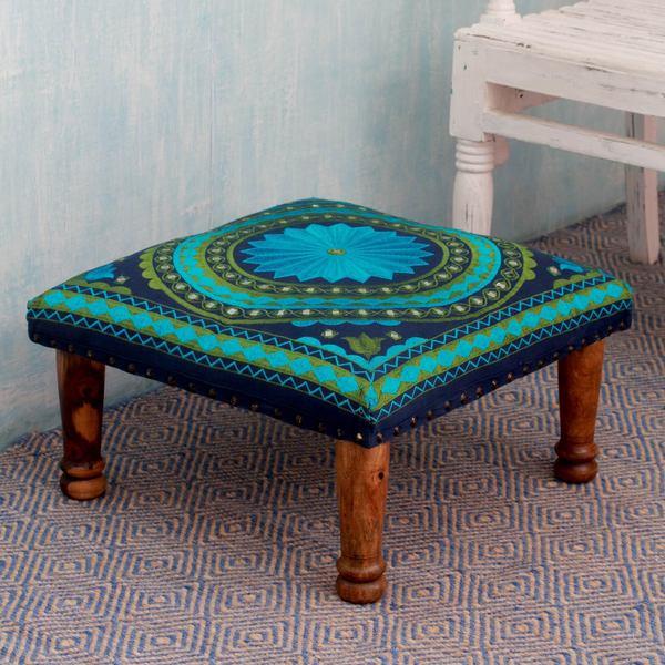 Turquoise Mandala Sheesham Wood With Multicolor Embroidery