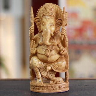 Handcrafted Kadam Wood 'Blessed Ganesha I' Sculpture (India)