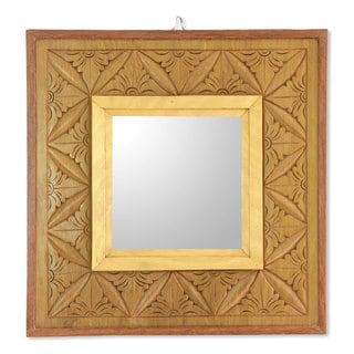 Cempaka Wood 'Matahari Mosaic' Relief Panel and Mirror (Indonesia)