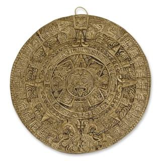Ceramic 'Aztec Calendar in Brown' Wall Plaque (Small) (Mexico)