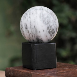 Handcrafted Onyx Sphere 'Visions' Sculpture , Handmade in Peru