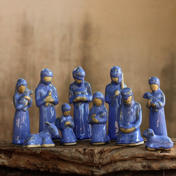 Set of 10 Ceramic 'Blue Thai Christmas' Nativity Scene (Thailand)