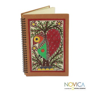Handcrafted Paper 'Bihar Lovebird' Madhubani Journal (India)